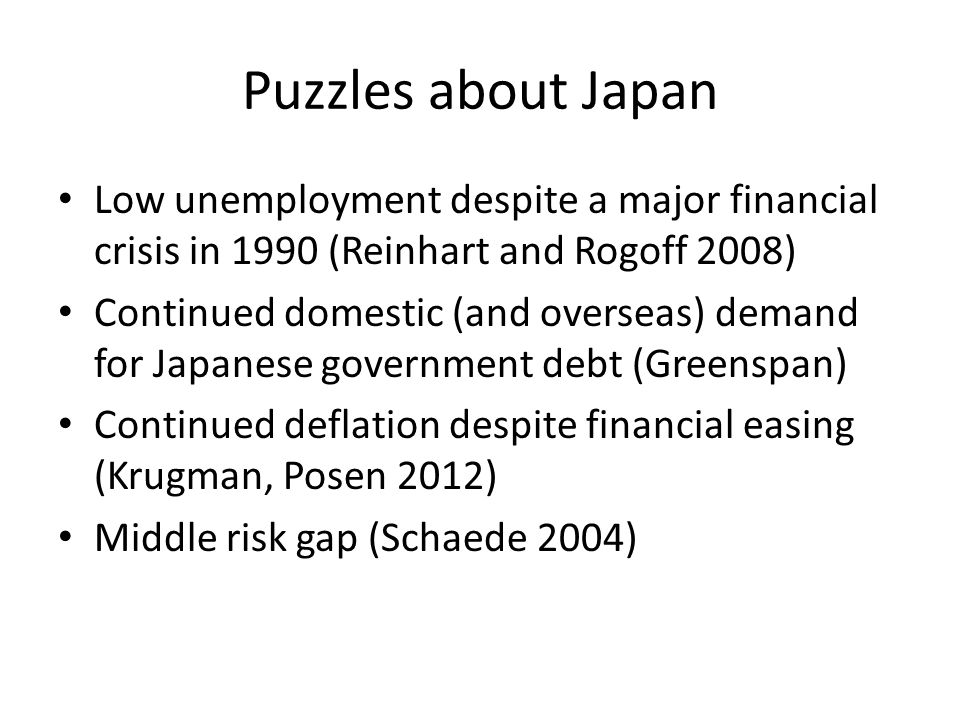 Puzzles about Japan Low unemployment despite a major financial crisis in 1990 (Reinhart and Rogoff 2008) Continued domestic (and overseas) demand for Japanese government debt (Greenspan) Continued deflation despite financial easing (Krugman, Posen 2012) Middle risk gap (Schaede 2004)