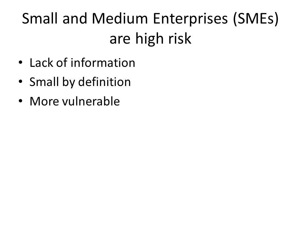 Small and Medium Enterprises (SMEs) are high risk Lack of information Small by definition More vulnerable