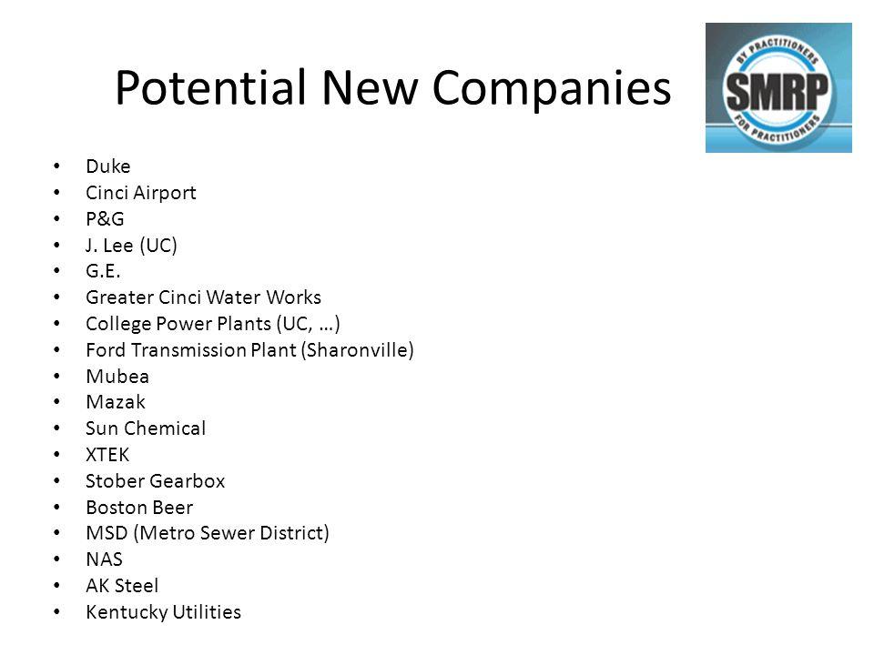 Potential New Companies Duke Cinci Airport P&G J. Lee (UC) G.E.