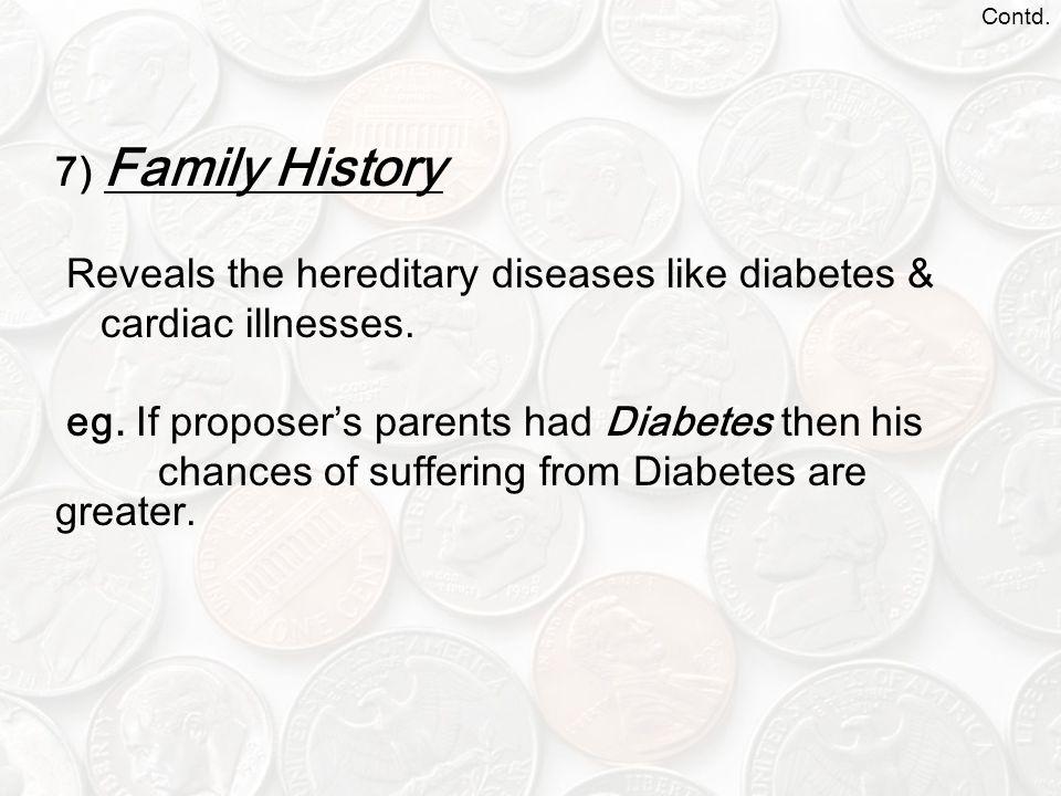 Contd.7) Family History Reveals the hereditary diseases like diabetes & cardiac illnesses.