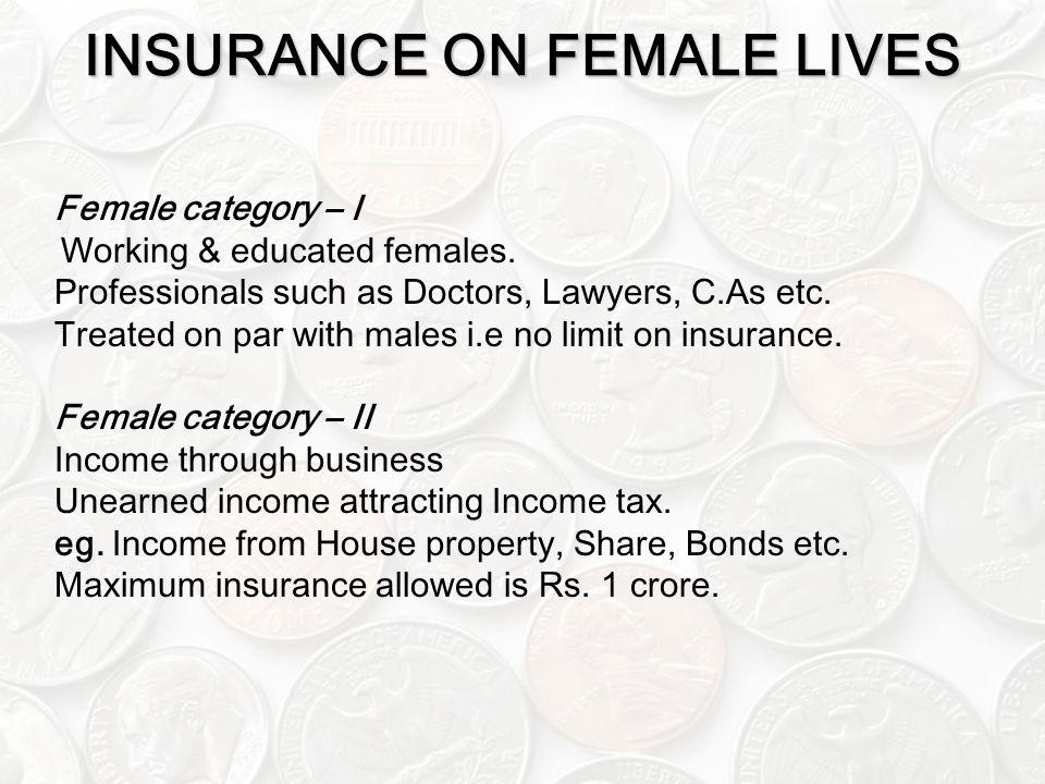 INSURANCE ON FEMALE LIVES Female category – I Working & educated females.