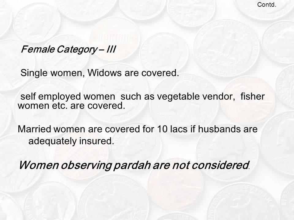 Contd.Female Category – III Single women, Widows are covered.