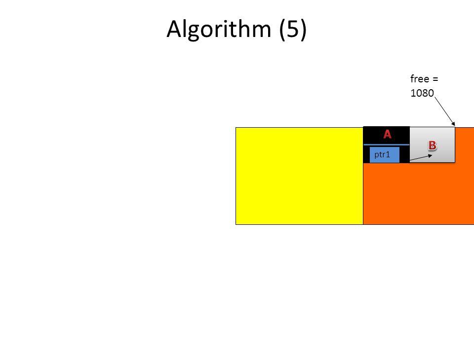 Algorithm (5) free = 1080 ptr1