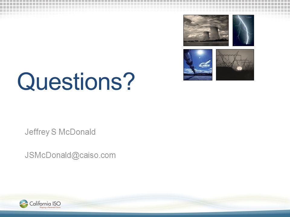 Questions Jeffrey S McDonald JSMcDonald@caiso.com Interregional Coordination Team Facilitators