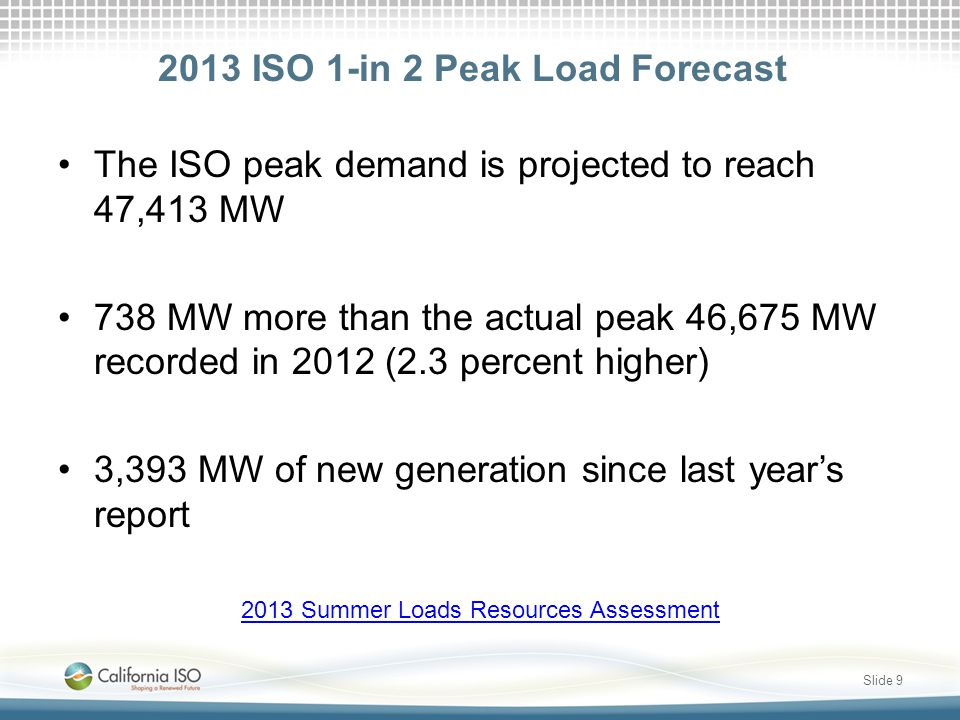 2013 ISO 1-in 2 Peak Load Forecast The ISO peak demand is projected to reach 47,413 MW 738 MW more than the actual peak 46,675 MW recorded in 2012 (2.3 percent higher) 3,393 MW of new generation since last year's report 2013 Summer Loads Resources Assessment Slide 9