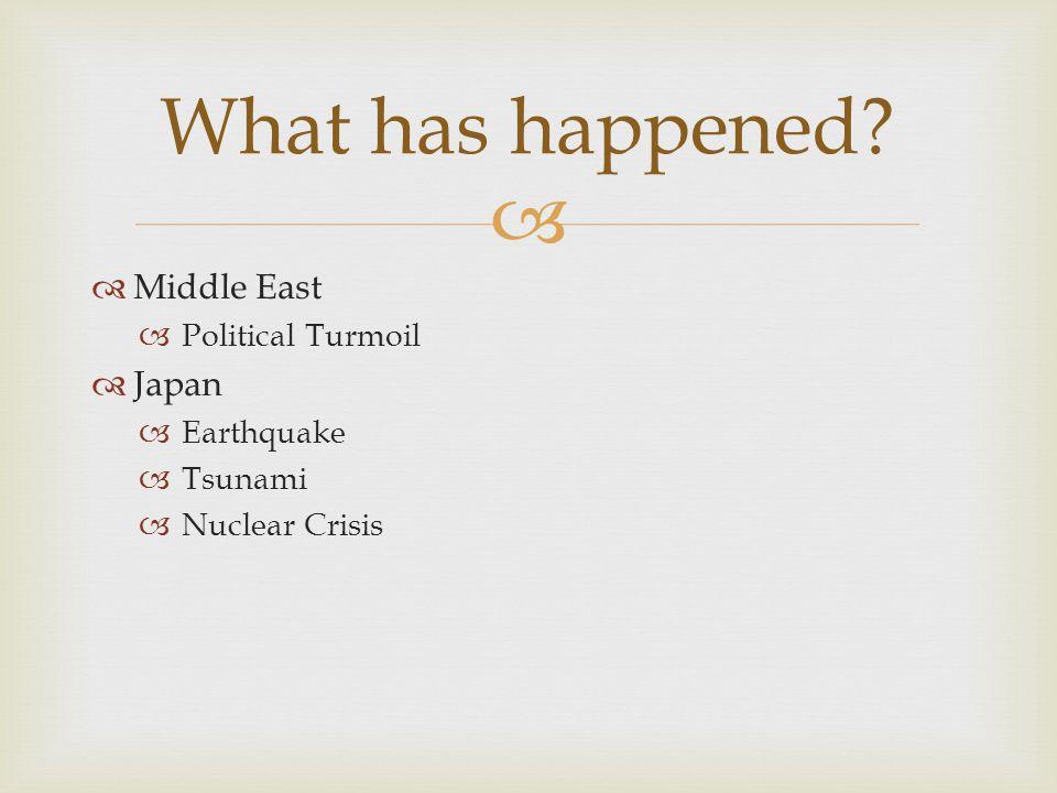   Middle East  Political Turmoil  Japan  Earthquake  Tsunami  Nuclear Crisis What has happened