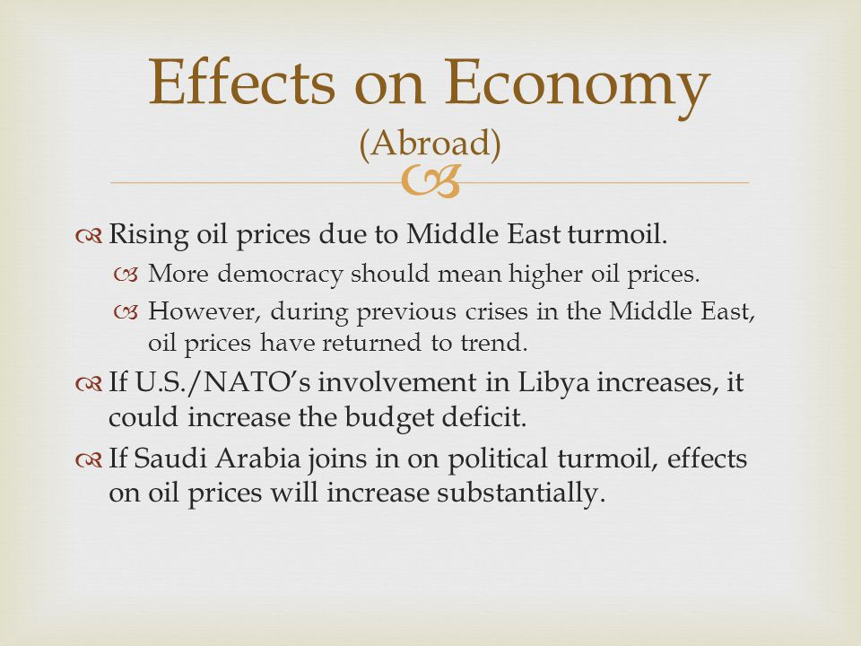   Rising oil prices due to Middle East turmoil.  More democracy should mean higher oil prices.