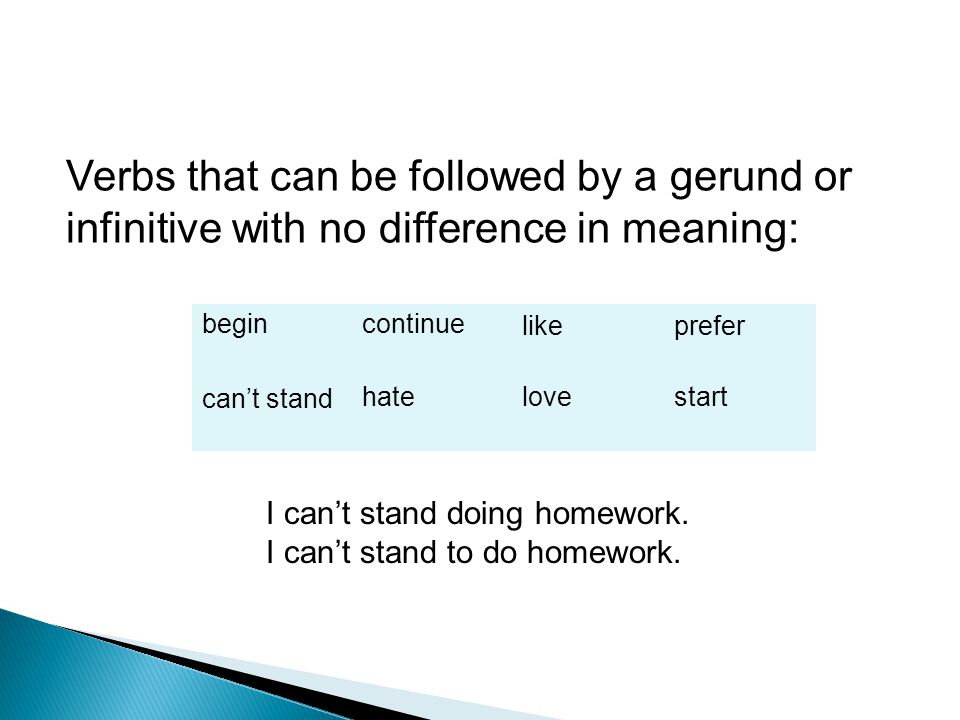 Verbs that can be followed by a gerund or infinitive with no difference in meaning: begincontinuelikeprefer can't standhatelovestart I can't stand doing homework.