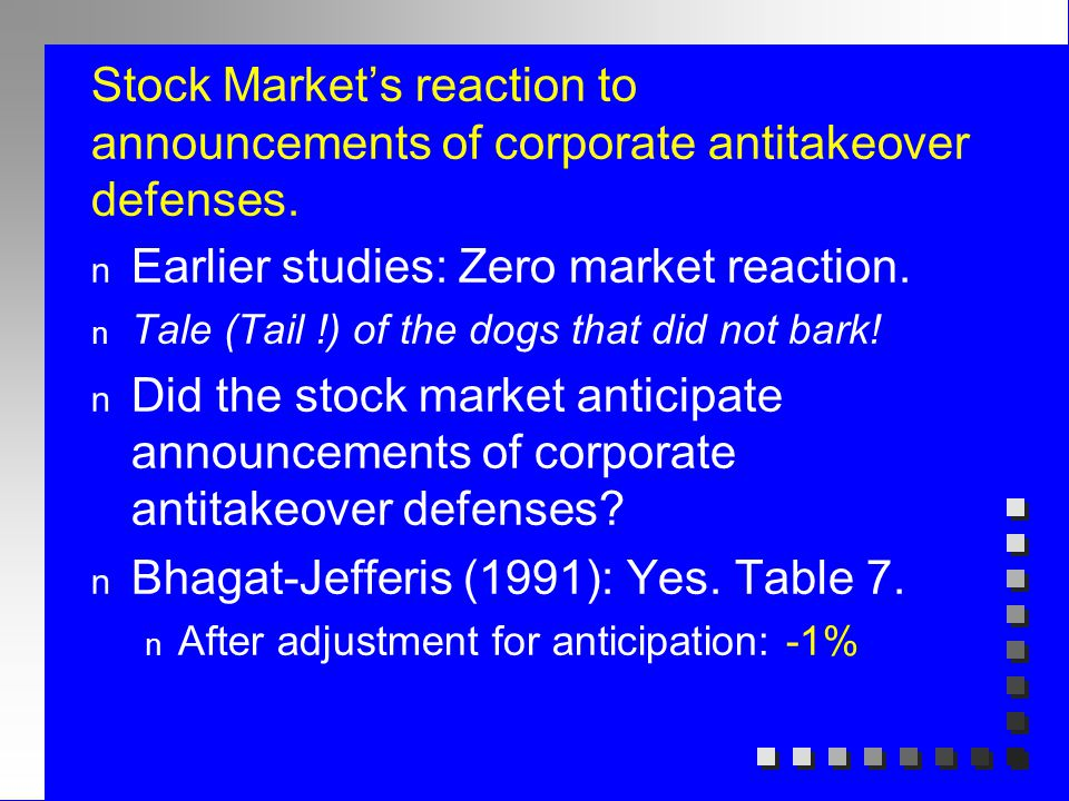 Stock Market's reaction to announcements of corporate antitakeover defenses. n Earlier studies: Zero market reaction. n Tale (Tail !) of the dogs that