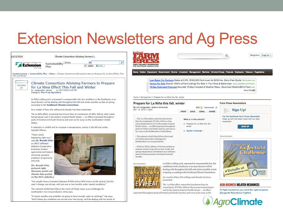 Extension Newsletters and Ag Press