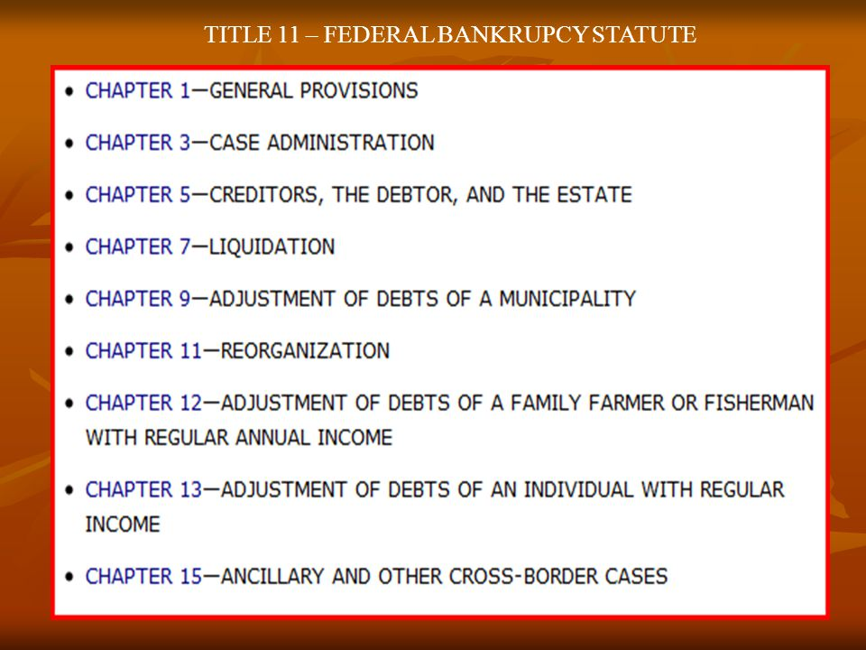 TITLE 11 – FEDERAL BANKRUPCY STATUTE