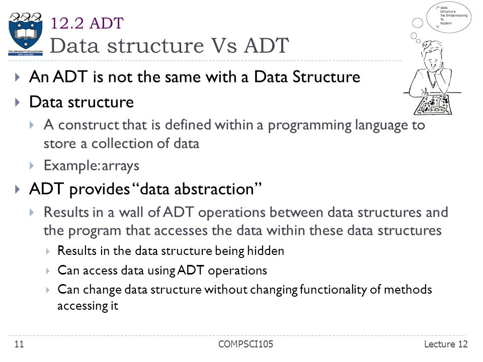 12.2 ADT Data structure Vs ADT  An ADT is not the same with a Data Structure  Data structure  A construct that is defined within a programming language to store a collection of data  Example: arrays  ADT provides data abstraction  Results in a wall of ADT operations between data structures and the program that accesses the data within these data structures  Results in the data structure being hidden  Can access data using ADT operations  Can change data structure without changing functionality of methods accessing it Lecture 12COMPSCI10511