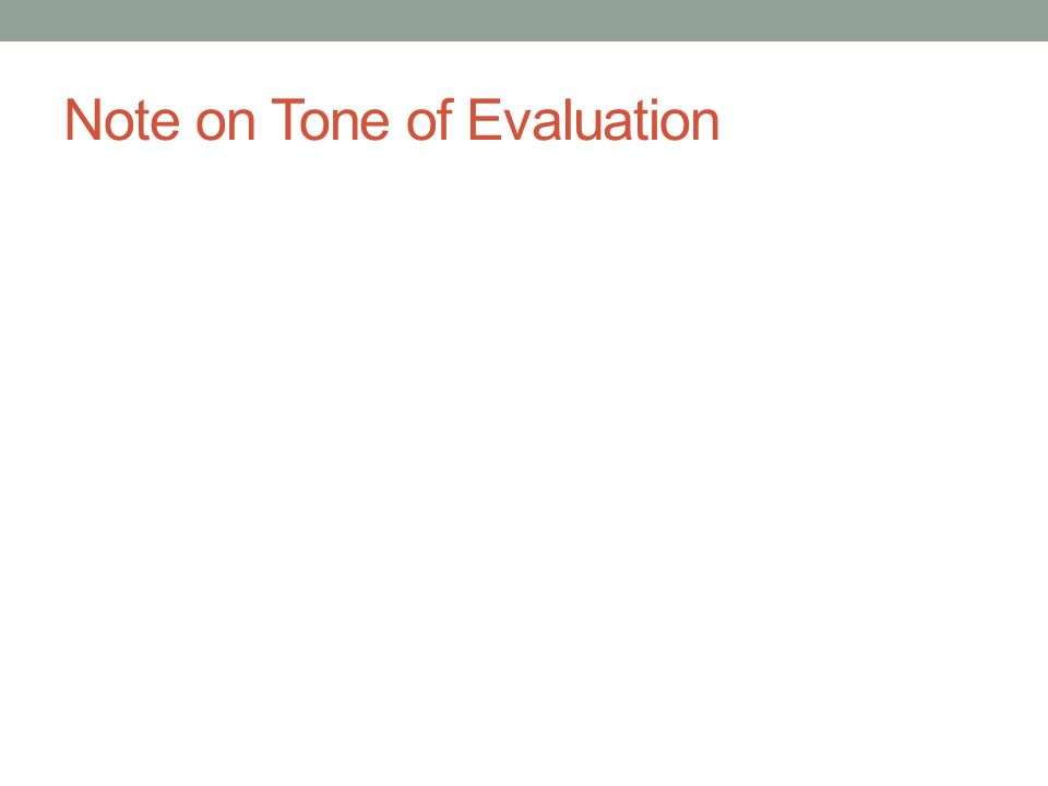 Note on Tone of Evaluation