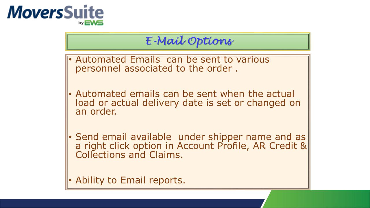 Automated Emails can be sent to various personnel associated to the order.