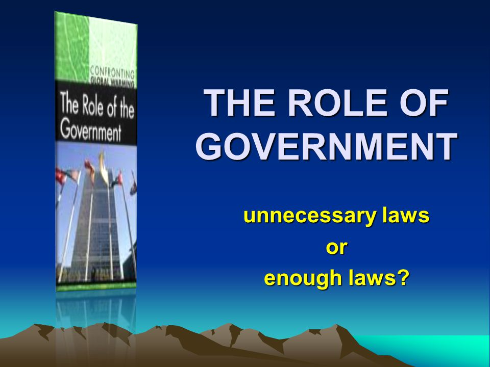 THE ROLE OF GOVERNMENT unnecessary laws or enough laws