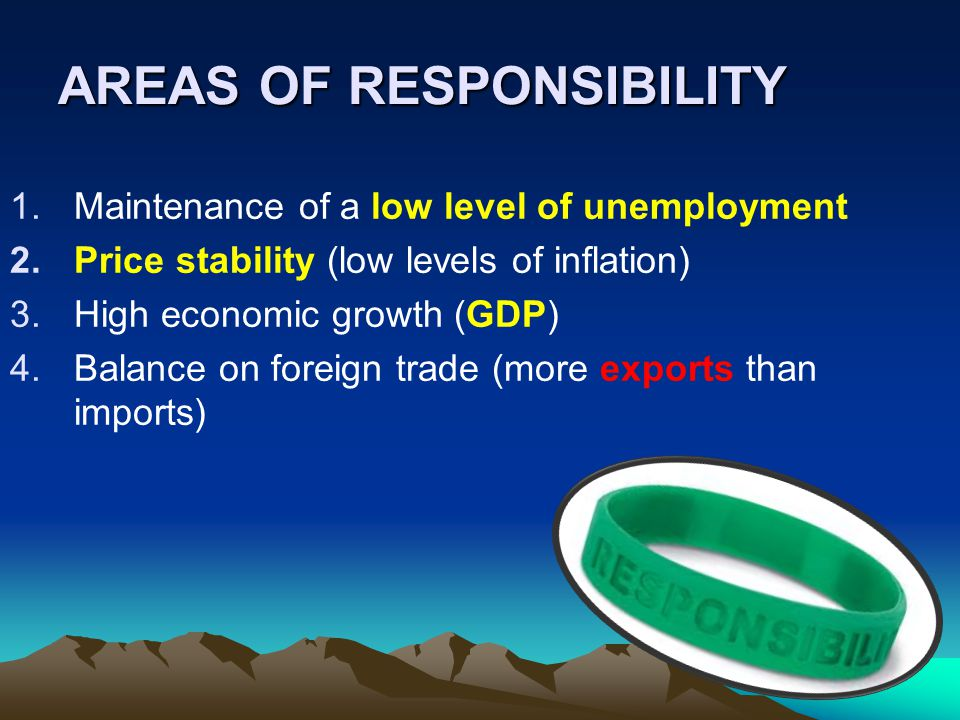 AREAS OF RESPONSIBILITY 1.Maintenance of a low level of unemployment 2.Price stability (low levels of inflation) 3.High economic growth (GDP) 4.Balance on foreign trade (more exports than imports)