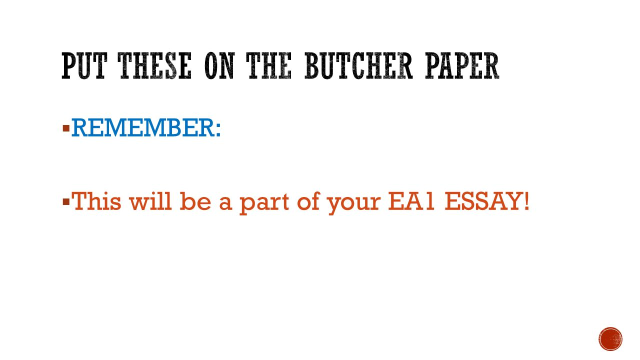  REMEMBER:  This will be a part of your EA1 ESSAY!