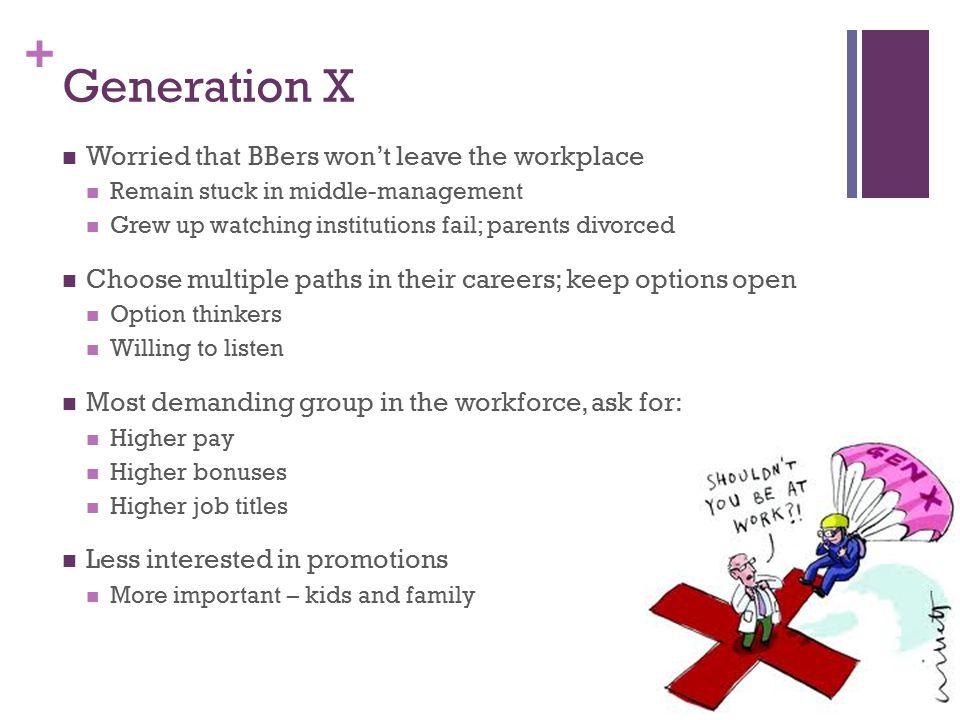 + Generation X Worried that BBers won't leave the workplace Remain stuck in middle-management Grew up watching institutions fail; parents divorced Choose multiple paths in their careers; keep options open Option thinkers Willing to listen Most demanding group in the workforce, ask for: Higher pay Higher bonuses Higher job titles Less interested in promotions More important – kids and family