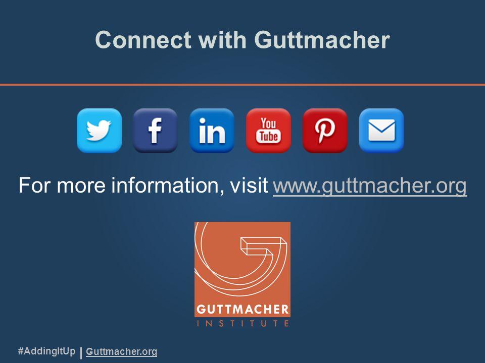 Guttmacher.org #AddingItUp Connect with Guttmacher For more information, visit www.guttmacher.orgwww.guttmacher.org