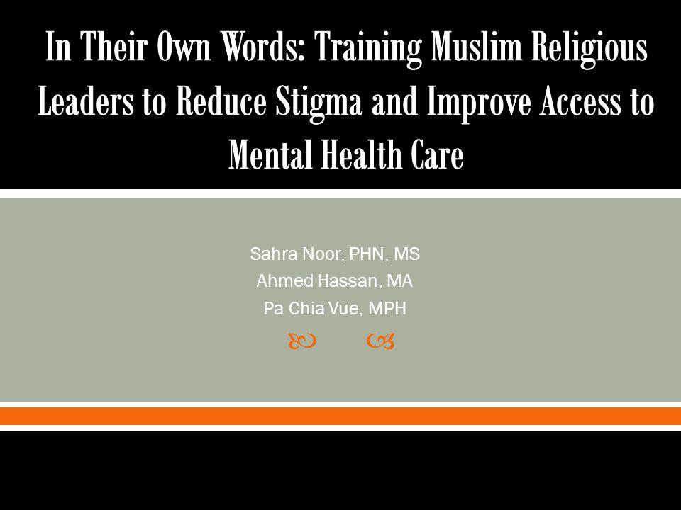  Sahra Noor, PHN, MS Ahmed Hassan, MA Pa Chia Vue, MPH