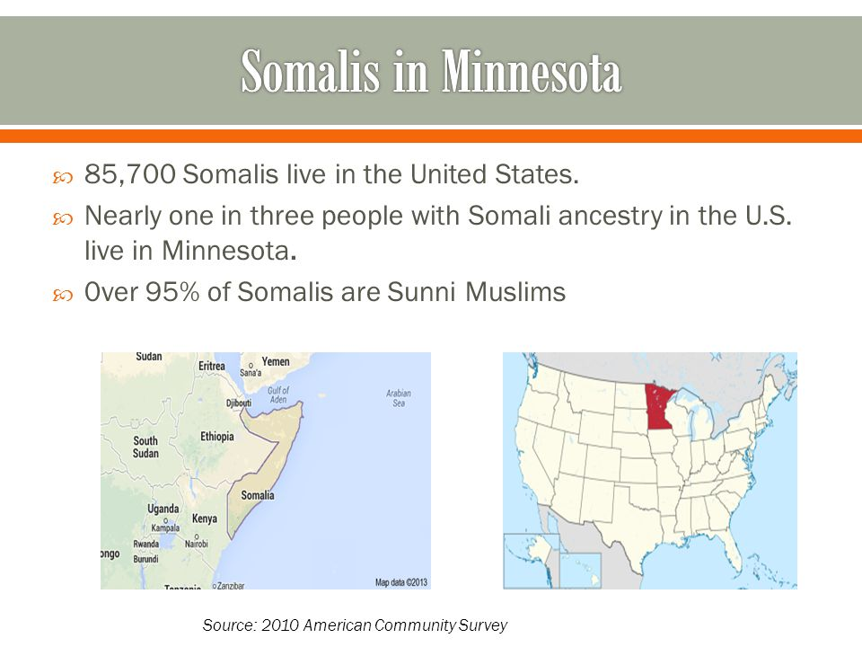 85,700 Somalis live in the United States.