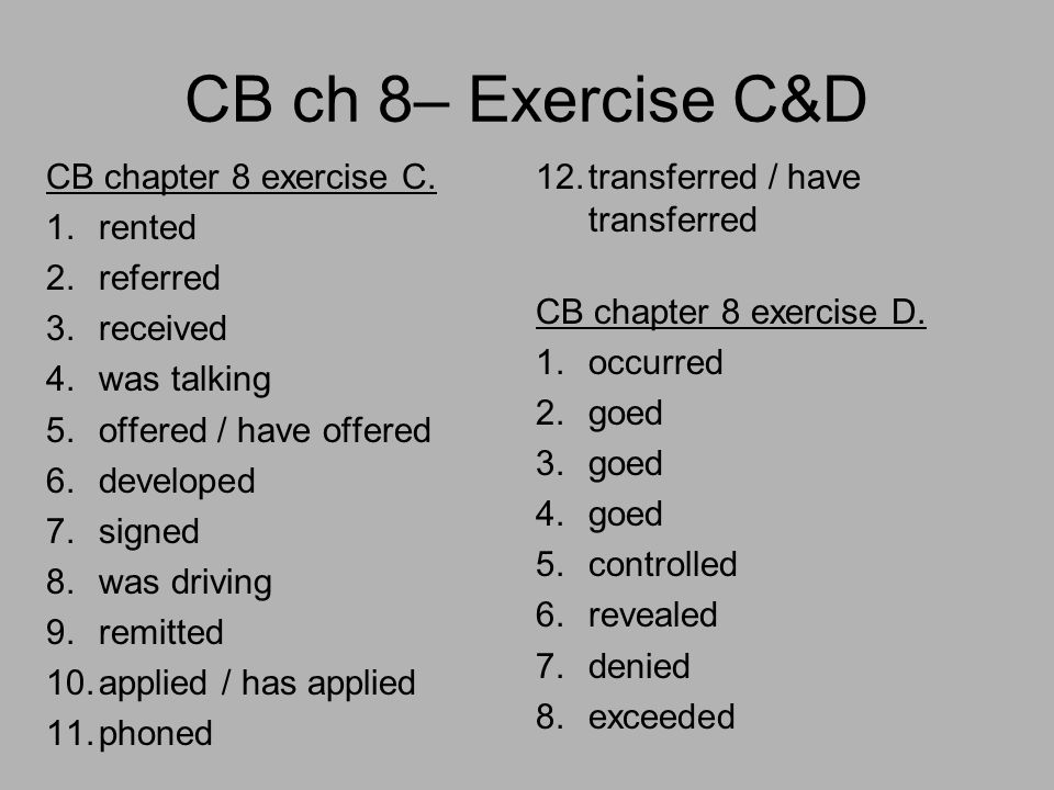 CB ch 8– Exercise C&D CB chapter 8 exercise C.