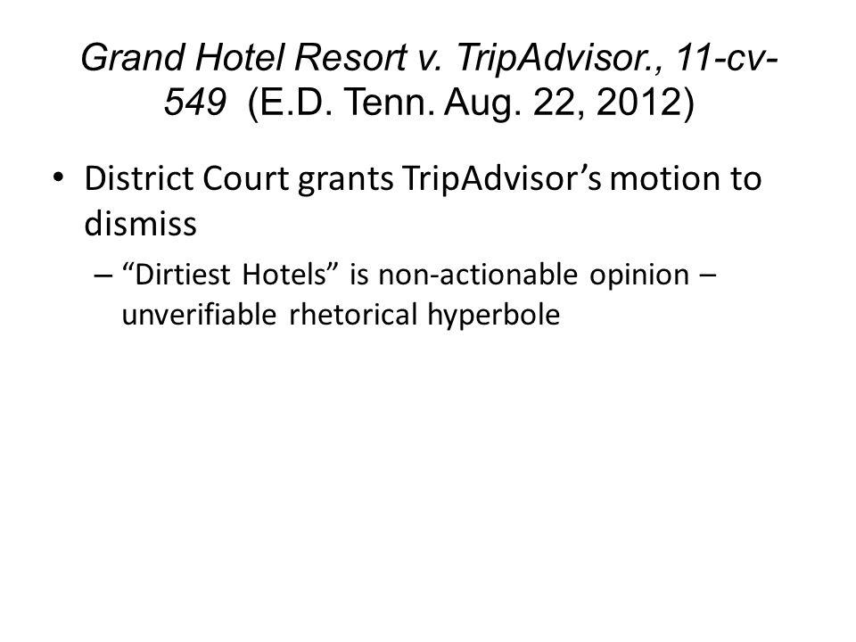 Grand Hotel Resort v. TripAdvisor., 11-cv- 549 (E.D.