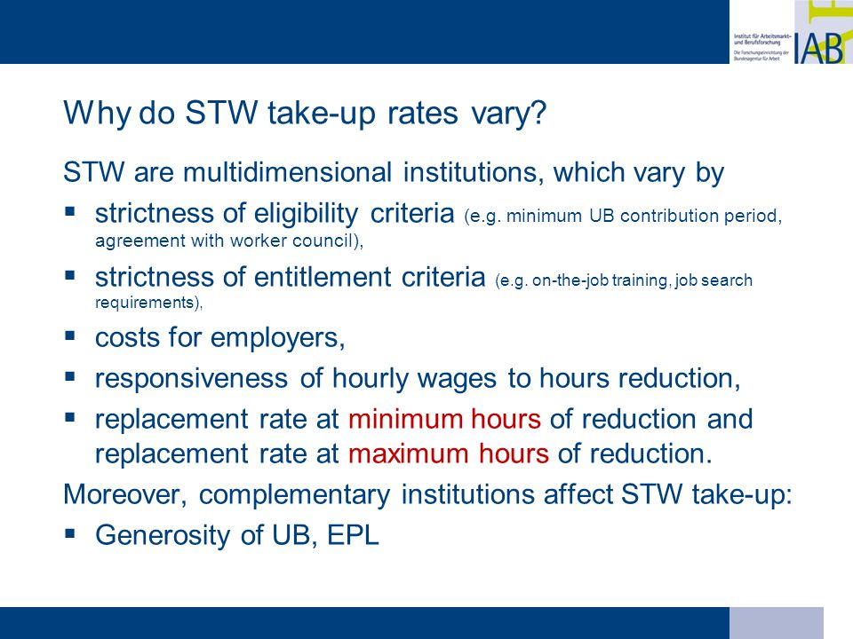 Why do STW take-up rates vary.