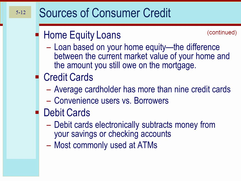 5-12 Sources of Consumer Credit  Home Equity Loans –Loan based on your home equity—the difference between the current market value of your home and t
