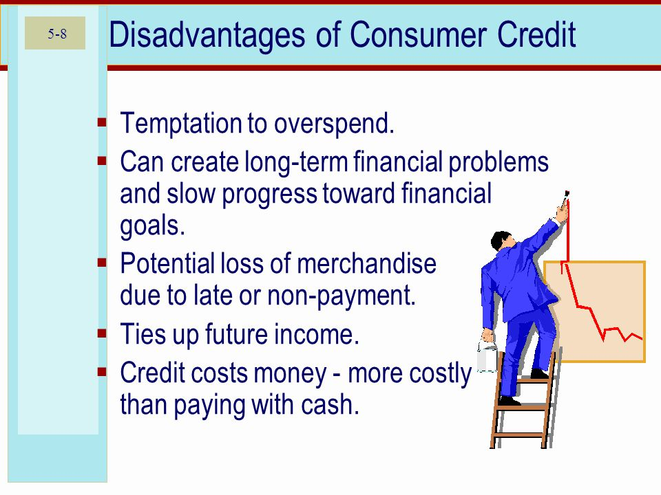 5-8 Disadvantages of Consumer Credit  Temptation to overspend.  Can create long-term financial problems and slow progress toward financial goals. 