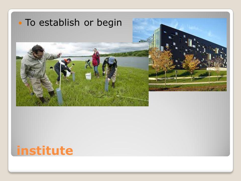 institute To establish or begin
