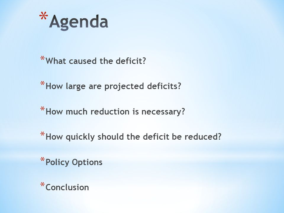 * What caused the deficit? * How large are projected deficits? * How much reduction is necessary? * How quickly should the deficit be reduced? * Polic