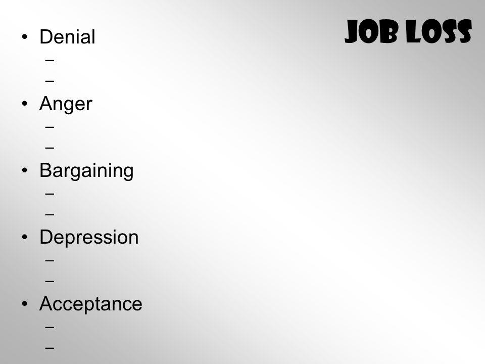 Job Loss Denial – – Anger – – Bargaining – – Depression – – Acceptance – –