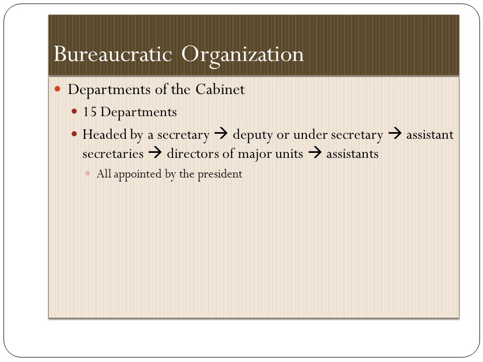 Bureaucratic Organization Departments of the Cabinet 15 Departments Headed by a secretary  deputy or under secretary  assistant secretaries  directors of major units  assistants All appointed by the president Departments of the Cabinet 15 Departments Headed by a secretary  deputy or under secretary  assistant secretaries  directors of major units  assistants All appointed by the president