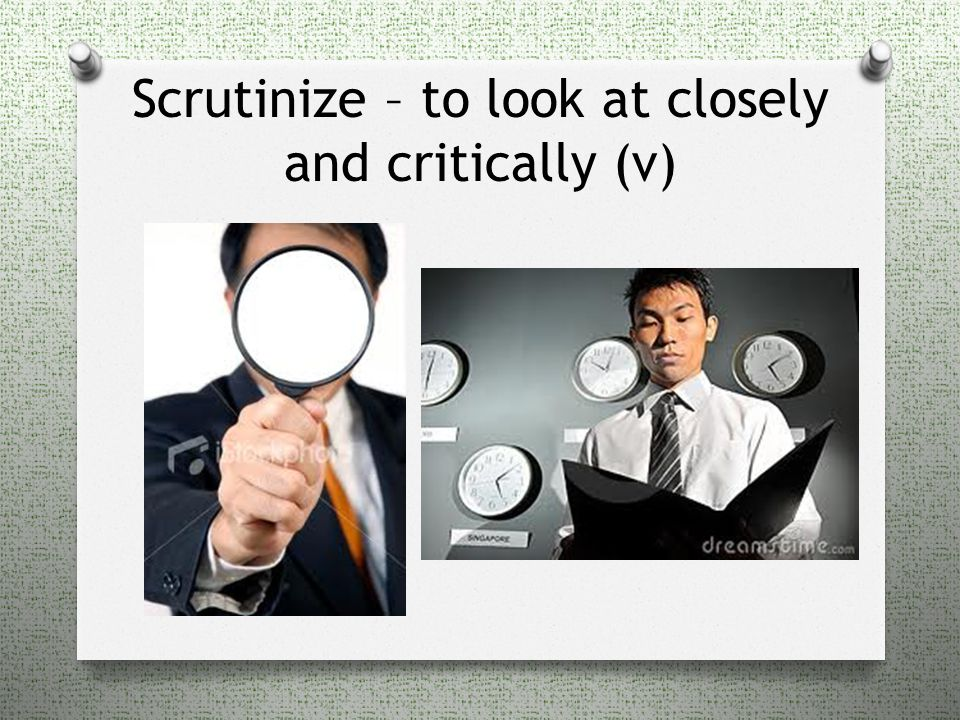 Scrutinize – to look at closely and critically (v)