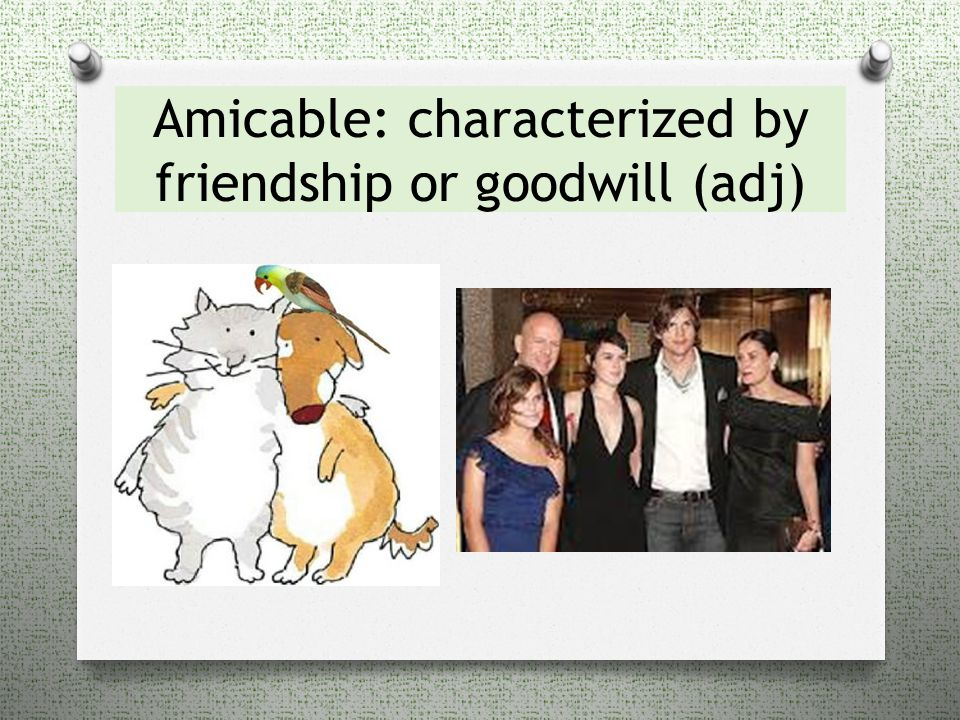Amicable: characterized by friendship or goodwill (adj)