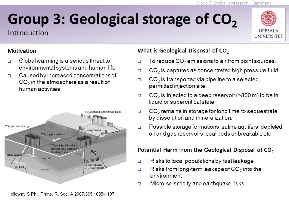 Group 3: Geological storage of CO 2 Introduction Potential Harm from the Geological Disposal of CO 2  Risks to local populations by fast leakage  Risks from long-term leakage of CO 2 into the environment  Micro-seismicity and earthquake risks  To reduce CO 2 emissions to air from point sources..