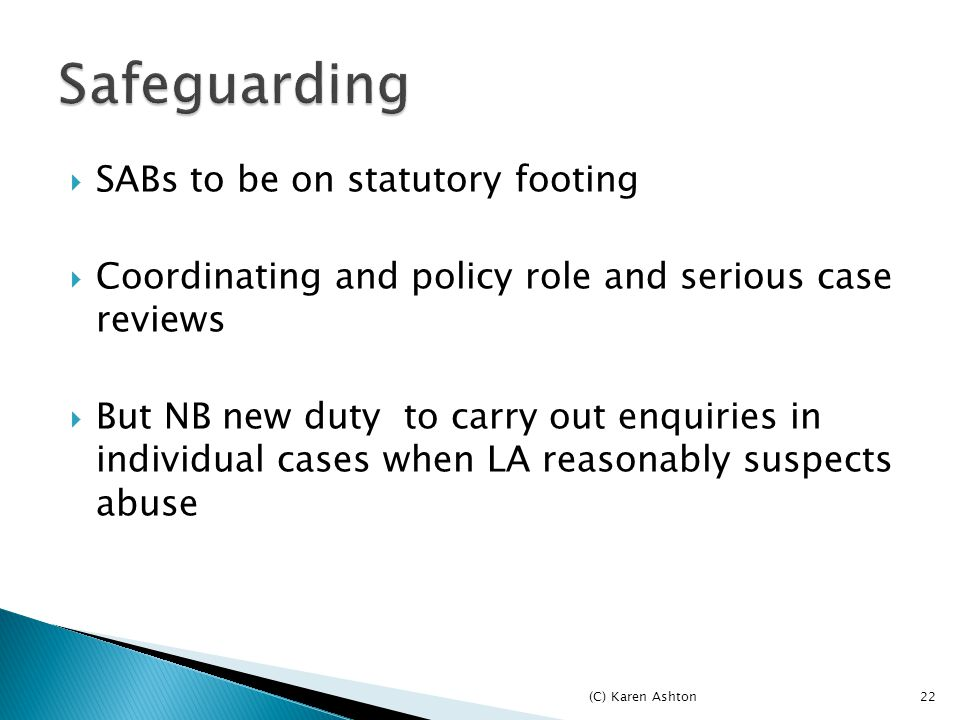22  SABs to be on statutory footing  Coordinating and policy role and serious case reviews  But NB new duty to carry out enquiries in individual cases when LA reasonably suspects abuse (C) Karen Ashton