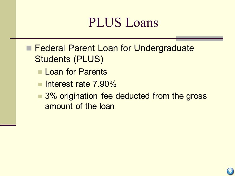 PLUS Loans Federal Parent Loan for Undergraduate Students (PLUS) Loan for Parents Interest rate 7.90% 3% origination fee deducted from the gross amoun