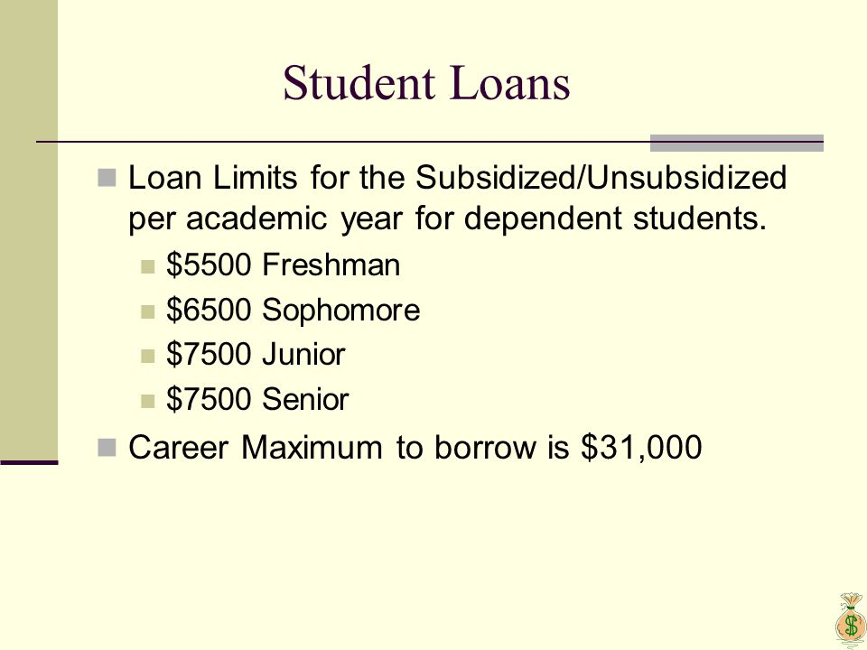 Student Loans Loan Limits for the Subsidized/Unsubsidized per academic year for dependent students. $5500 Freshman $6500 Sophomore $7500 Junior $7500