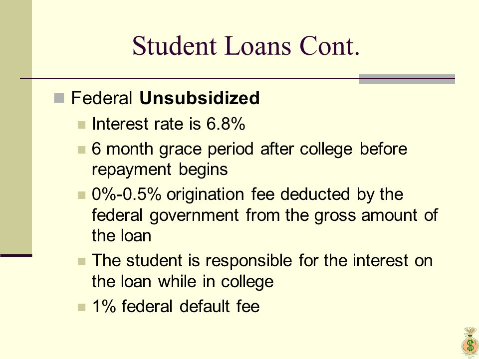 Student Loans Cont. Federal Unsubsidized Interest rate is 6.8% 6 month grace period after college before repayment begins 0%-0.5% origination fee dedu