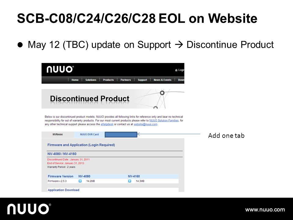 SCB-C08/C24/C26/C28 EOL on Website May 12 (TBC) update on Support  Discontinue Product www.nuuo.com Add one tab