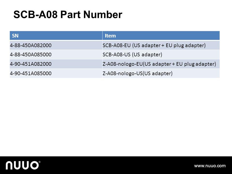 SCB-A08 Part Number www.nuuo.com SNItem 4-88-450A082000SCB-A08-EU (US adapter + EU plug adapter) 4-88-450A085000SCB-A08-US (US adapter) 4-90-451A082000Z-A08-nologo-EU(US adapter + EU plug adapter) 4-90-451A085000Z-A08-nologo-US(US adapter)