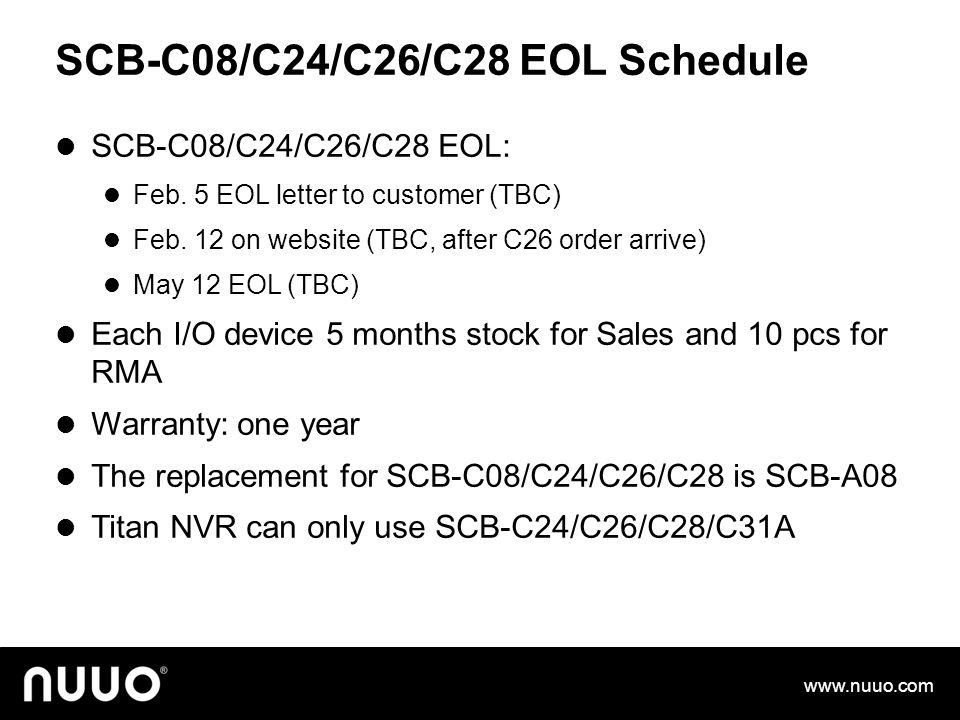 SCB-C08/C24/C26/C28 EOL Schedule SCB-C08/C24/C26/C28 EOL: Feb.