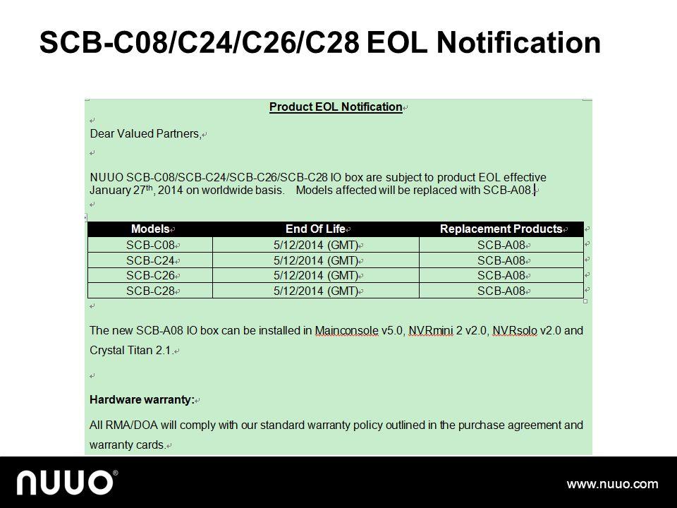 SCB-C08/C24/C26/C28 EOL Notification www.nuuo.com