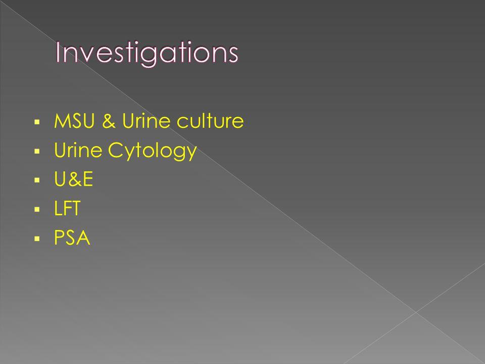  MSU & Urine culture  Urine Cytology  U&E  LFT  PSA