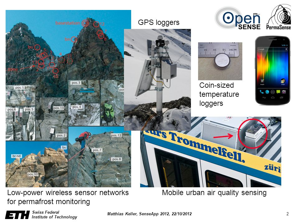 Swiss Federal Institute of Technology 2 Matthias Keller, SenseApp 2012, 22/10/2012 Low-power wireless sensor networks for permafrost monitoring Mobile urban air quality sensing GPS loggers Coin-sized temperature loggers