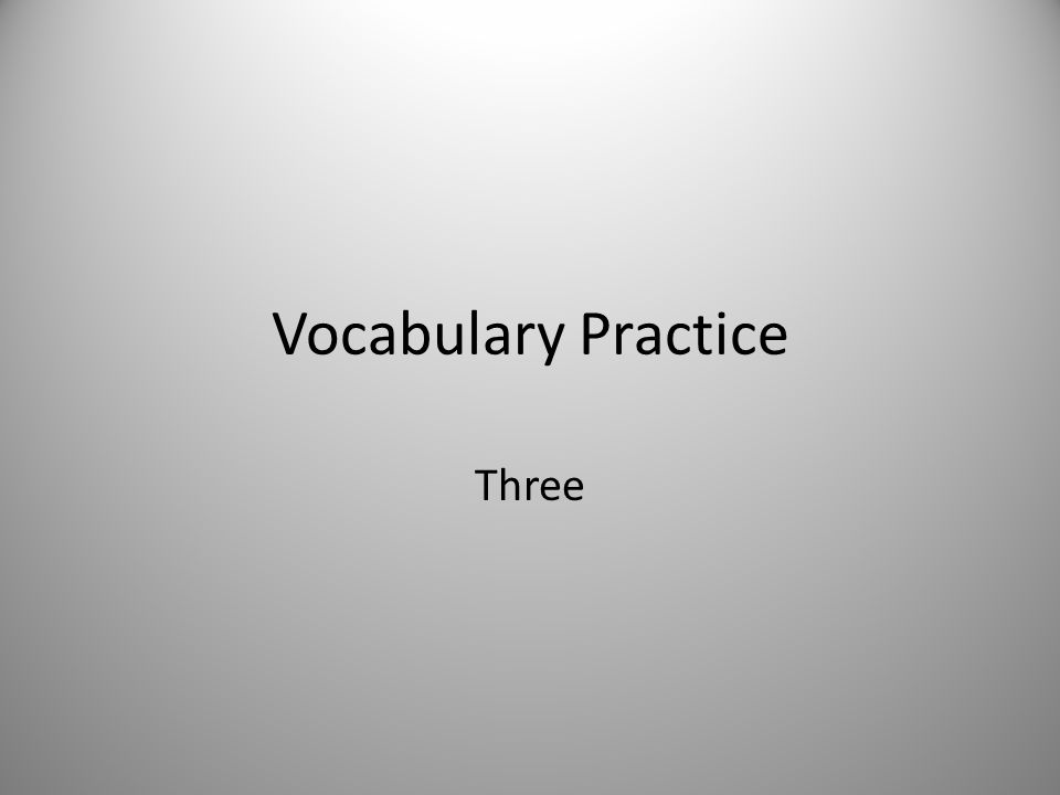 Vocabulary Practice Three