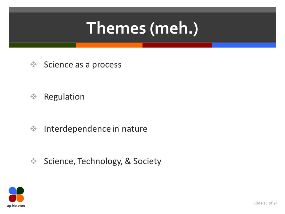 Slide 15 of 24 Themes (meh.)  Science as a process  Regulation  Interdependence in nature  Science, Technology, & Society