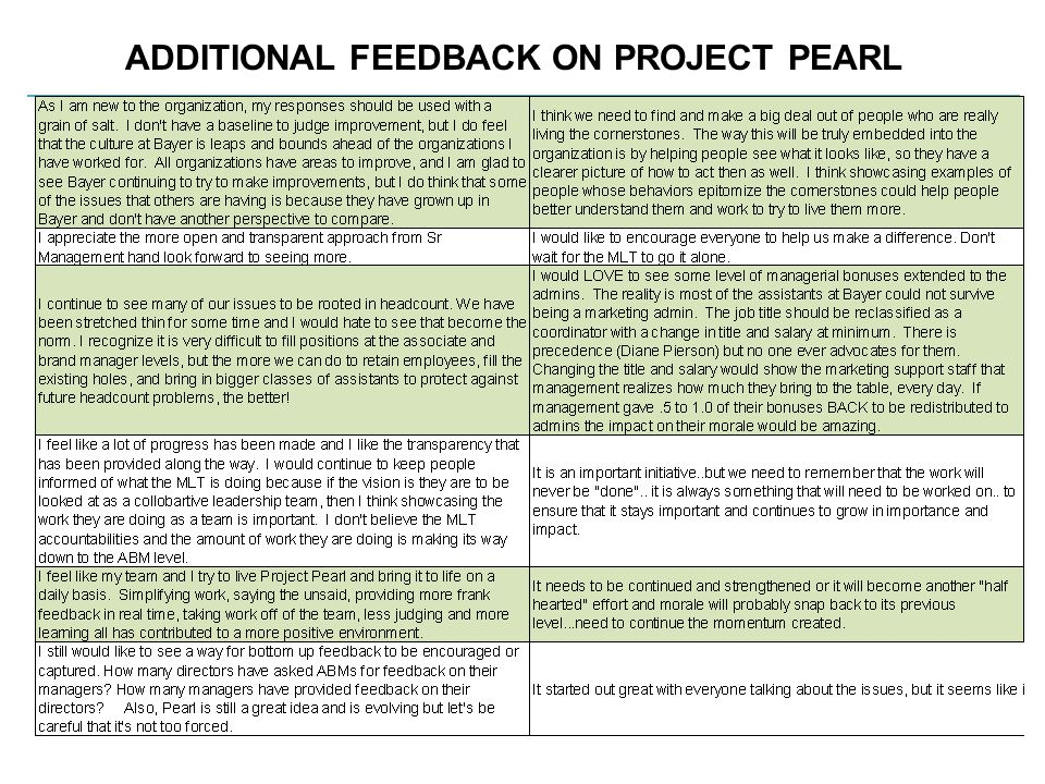 ADDITIONAL FEEDBACK ON PROJECT PEARL